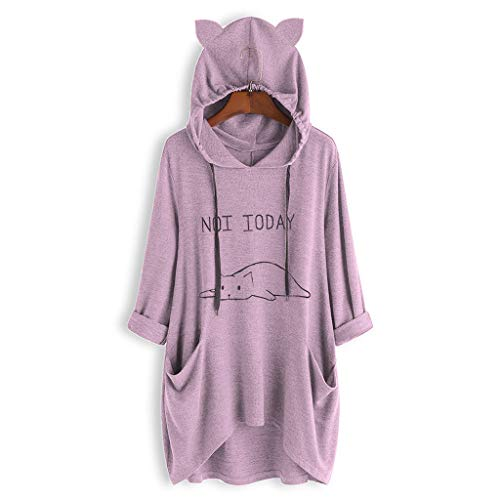 Women Casual Lying Cat Printed Long Sleeve Cat Ear Hooded Sweatshirt Pocket Tops ()