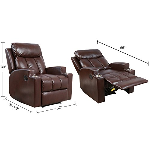 BONZY Recliner Contemporary Theater Seating Two Cup Holder Brown Leather Chairs for Modern Living Room Durable Framework Chocolate