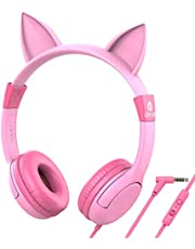 iClever HS01 Kids Headphones with Mic, Food Grade Safe Volume limited 85/94dB, Cat Ear Pink Headphones for Kids Girls Boys, Wired Children Headphones for Online Learning/School/Travel/Tablet