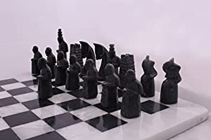 RADICALn 16 Inches Handmade Black and White Hand Crafted Marble Chess Game Set