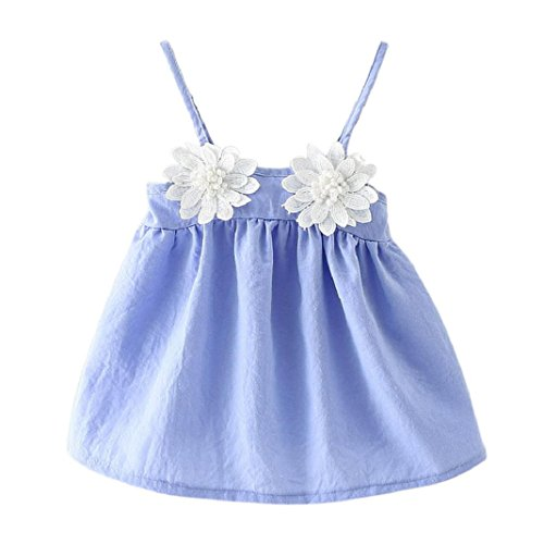 ShenPr Baby Girl Sleeveless Sunflower Princess Dress Summer Slip Sling Swing Princess Party Mini Dress (Light Blue, 6M) Checked Baby Dress