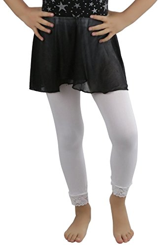 ToBeInStyle Girl's Girls Opaque Leggings With Lace Trim - White - M