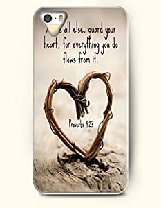 iPhone 5 5S Case OOFIT Phone Hard Case ** NEW ** Case with Design Above All Else,Guard Your Heart, For Everything You Do Flows From It. Proverbs 4:23- Bible Verses - Case for Apple iPhone 5/5s