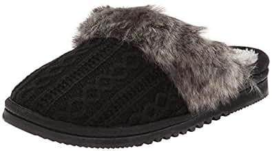 Dearfoams Women's Sweater Knit Scuff Slipper, Black,Large/9-10 M US