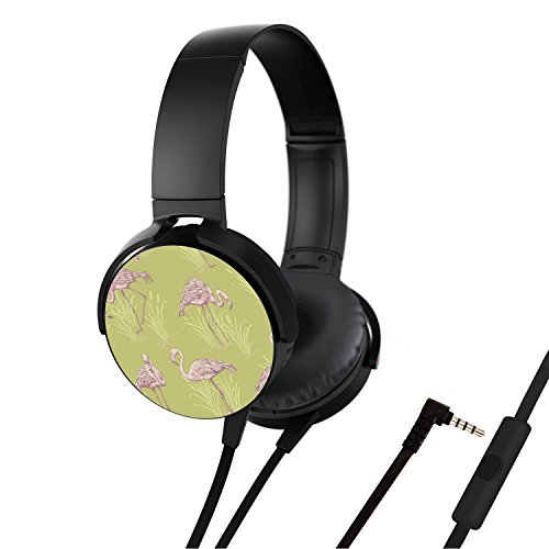 Portable On Ear Stereo Headphones with Soft Leather Earmuffs and Microphone, Customized Headsets Noise Isolation for Most Phones / PC / iPhone / iPad / Samsung / Laptop etc - Coral Lagoon Flamingo (Coral Flamingo)