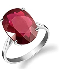 14k Solid White Gold Ring 7.5 ct Oval-Shaped Ruby - Size 7