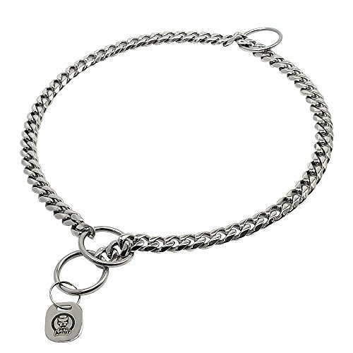 (PET ARTIST 3mm Link Silver Color Slip Stainless Steel Titan Choke Chain Dog Training Collar- Ring Sealed)