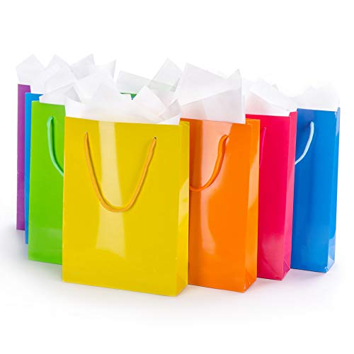 Assorted Gift Bags with Tissue Paper (12-Pack) Medium Colorful, Reusable Totes | Birthday Party, Wedding, Xmas, Baby Shower, Holiday Use | Men, Women, Kids -