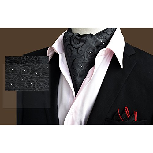 Handkerchief Ascot Xlj Elegant Black Wedding Set Men's YCHENG Tie Paisley Silk Business Floral 11 zw4UaX