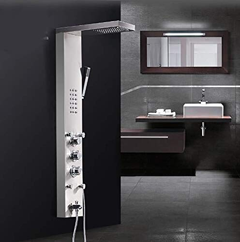 (WANNA.ME Waterfall Rain Shower Faucets Nickel Brushed,Thermostatic Shower Panel with Hand Shower Tub Spout Tower Shower Column)