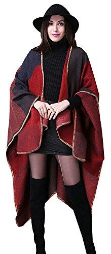 ilishop Women's Winter Reversible Oversized Blanket Poncho Cape Shawl Cardigans Red Free