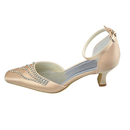 Minishion Y218 Womens Kitten Heel Satin Evening Party Bridal Wedding Chains Strappy Shoes Champagne-5cm Heel