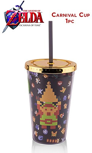 Nintendo OFFICIAL Original Retro 8-Bit Legend of Zelda NES PREMIUM Tumbler Travel Cup with Acrylic Straw, 16oz (BPA-Free)