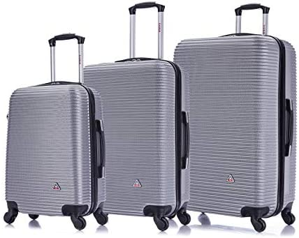 InUSA Royal Luggage Lightweight Hardside Spinner 3 Piece Set 20 , 28 , 32 inch – Silver