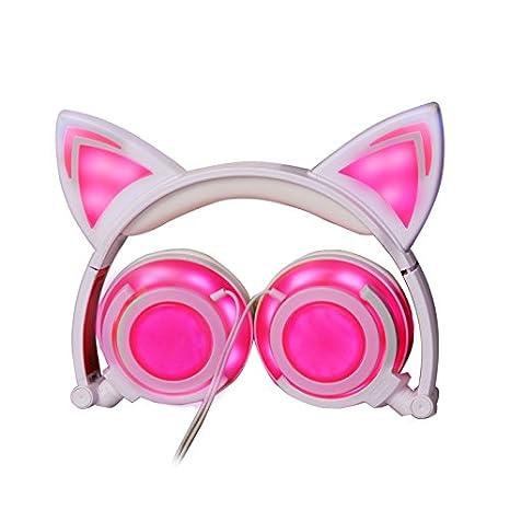 Amazon Com Kids Headphones Anmii E8 Wired Cat Earphones With