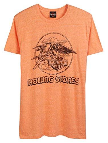 Harley-Davidson Men's Rolling Stones Jet Eagle Short Sleeve Tee - Orange (L)
