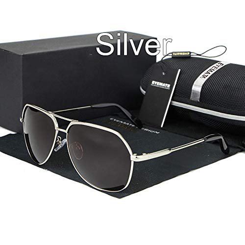 Conducción FKSW Hombres Gafas De De Eyewear Male Sol Temple De Gafas Gafas Sol Polarizadas Sol Unique Silver 00xPrSqw