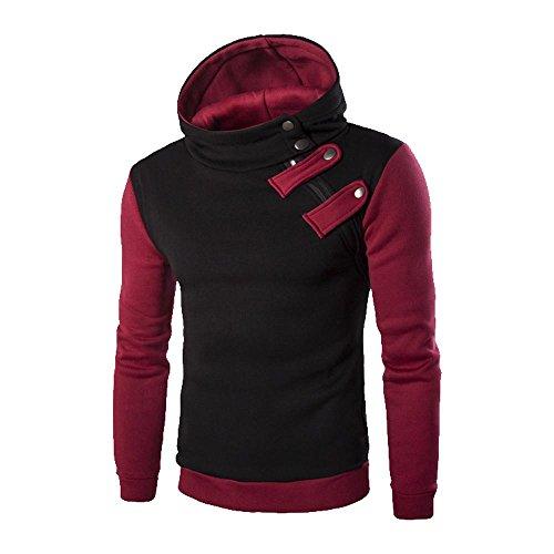 OWMEOT Mens Fashion Slim Fit Varsity Baseball Bomber Jacket Hoodie Cotton (Black B, ()