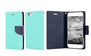 Best Iphone 6 Case, Luxury Leather Iphone 6 Wallet Case, Hit Color Phone Case Cover for Iphone 6 4.7 Inches (light green+blue)