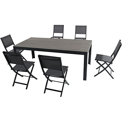 Hanover TUCSDN7PCFD-GRY 7 Piece Tucson Set with 6 Sling Folding Chairs and a Faux Wood Dining Table, Gray Outdoor Furniture (Outdoor Furniture Tucson Patio)