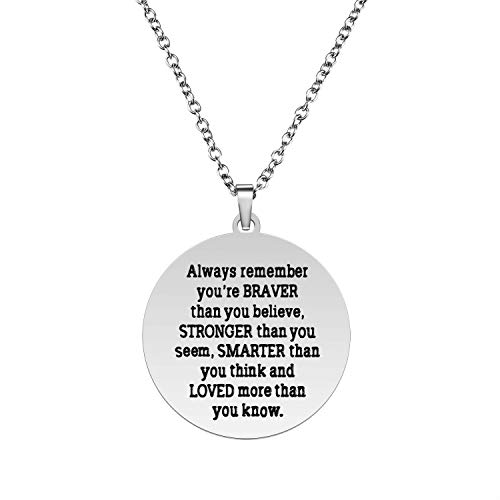 Always Remember You Are Braver Than You Believe Pendant Necklace, Inspirational Jewelry Gift for Women Teen Girls, Birthday Gifts for Sister Friends Daughter, Stainless Steel, 18