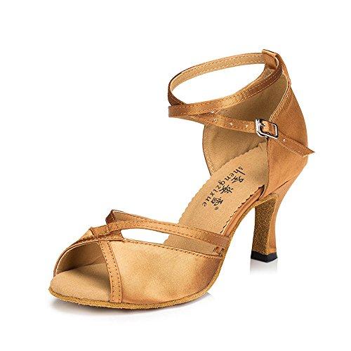 Zapatos De Baile Latino Hembra Adulta Con Sandalias Zapatos De Baile Zapatos De Baile Zapatos Suaves Marrón claro 6cm