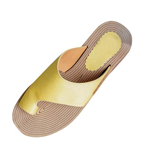 (Walking Shoes,Londony❀ Womens Open Toe Gladiator Flat Sandals Slingback Ankle Strap Casual Beach Roman Summer Shoes Yellow)