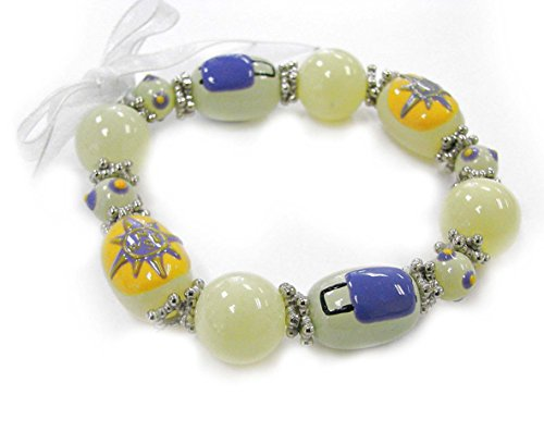 - Linpeng Lampwork Handmade Painted Compass and Luggage on Ivory Glass Beads Stretch Bracelet, Asst.
