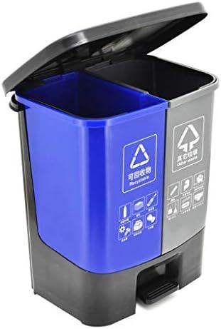 キッチンゴミ箱 ダブルごみ箱ダブルコンパートメントゴミ箱オフィス/屋外ガーデンプラスチックごみ箱、30リットル/ 7.9ガロン ごみ収集 (Capacity : 30L, Color : Blue)