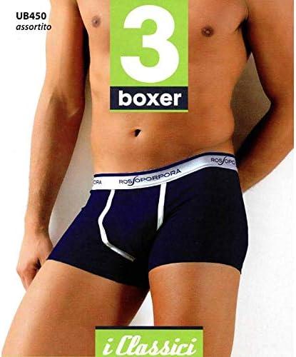 Art.UB450 ROSSOPORPORA Boxer Uomo Elastico Esterno.col.Assortiti.Set da 6 pz