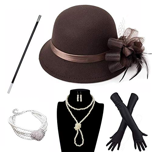 Derby Hat with 1920S Outfit Set Tea