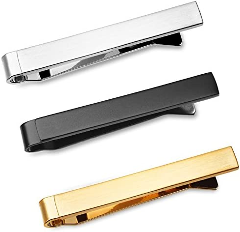 Slim Brushed Silver Fashion Tie Bar In Deluxe Gift Box