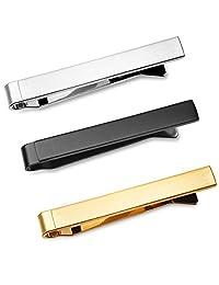 3 Pc Set Mens Skinny Tie Clip Bar (4cm) 1.5 Inch Silver, Black, Gold Tone in Deluxe Gift Box