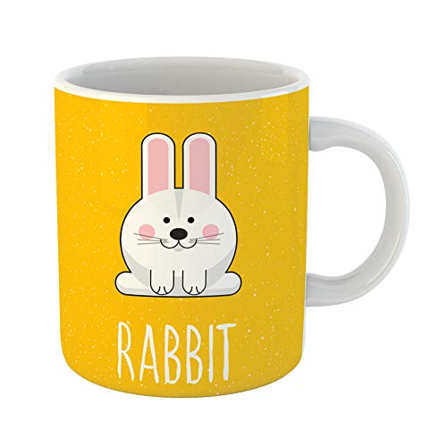 Emvency Coffee Tea Mug Gift 11 Ounces Funny Ceramic Yellow Abstract Rabbit Saying and Cartoon Childish Cute Album Raster Copy Gifts For Family Friends Coworkers Boss Mug