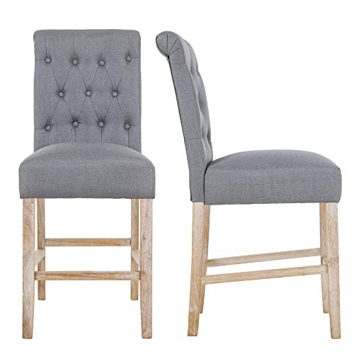 (NOBPEINT Fabric Upholstered Barstool Dining Chair Solid Wood Legs 24