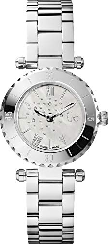 Guess Collection  Silver Stainless Steel Case and Dial With Embedded Stones, Ladies Mini Chic Swiss Watch - X70110L1S ()