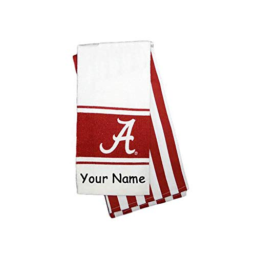 Game Day Outfitters Personalized Officially Licensed University of Alabama Crimson Tide Kitchen Dish Towel Bundle with Custom Name - 2 Piece Set