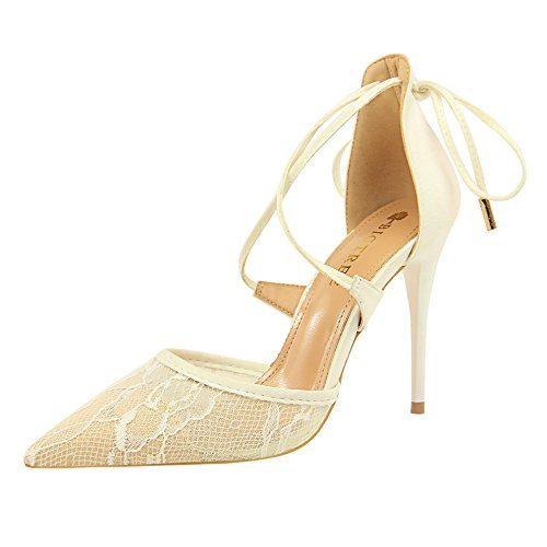 White Pointed Baotou Sandals Summer Shoes Yards Netted Big Heeled ZHANGYUSEN Hollowed Sharp High Thin Heels Lace Female 0A4aqxpw