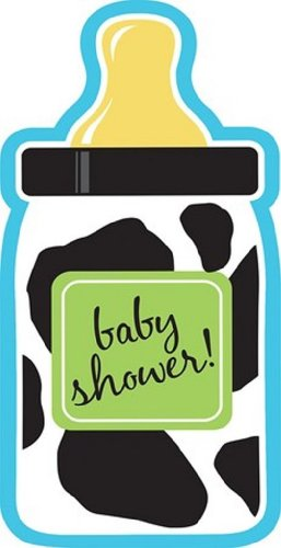 8-Count Bottle-Shaped Shower Invitations, Baby Boy Cow (Cowboy Baby Shower Invitations)