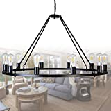 """OSAIRUOS W39"""" Vintage Rustic Rod Iron Chandelier Farmhouse Ceiling Pendant Chandeliers Lighting Fixture Industrial Decor Round Island 10 Lights for Living Room Hotel Church Cafe Shops, Painted Black Review"""
