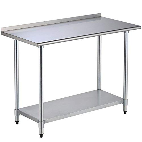 SUNCOO Commercial Stainless Steel Work Table Food Grade Kitchen Prep Workbench Metal Restaurant Countertop Workstation with Adjustable Undershelf 48 in Long x 24 in Deep ()