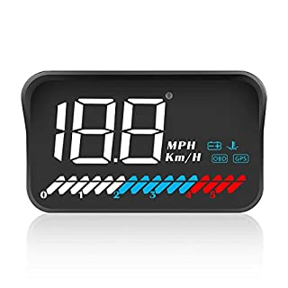 ACECAR Heads Up Display Car Universal Dual System 3.5'' HUD OBD II/GPS Interface,Vehicle Speed MPH KM/h,Engine RPM,OverSpeed Warning,Mileage Measurement,Water Temperature,Voltage