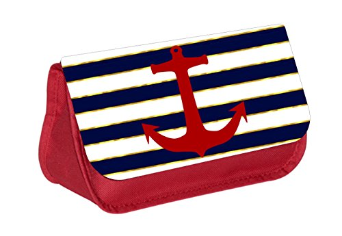 Red Anchor on Gilded Stripes - Red Cosmetic Case - Makeup Bag - with 2 Zippered Pockets