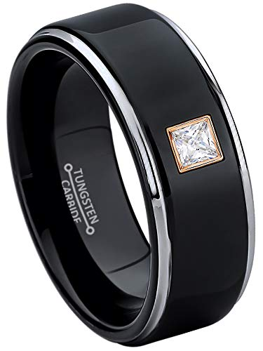 0.10ctw Solitaire Princess Cut Diamond Tungsten Ring - 8MM Polished 2-Tone Stepped Edge Tungsten Carbide Wedding Band - April Birthstone Ring - s5 ()