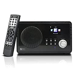 Ocean Digital Wi-Fi Internet Radio WR60 Wlan Wireless Wooden Desktop Alarm Clock Colour Display - Black