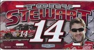 LP-TS10 Tony Stewart 6 x 12 metal license plate featuring a laser burned photographic image.