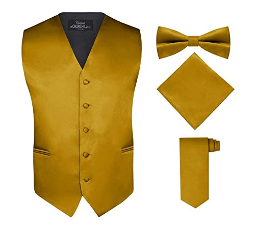 S.H. Churchill & Co. Men's 4 Piece Vest Set, with Bow Tie, Neck Tie & Pocket Hankie - Gold, M