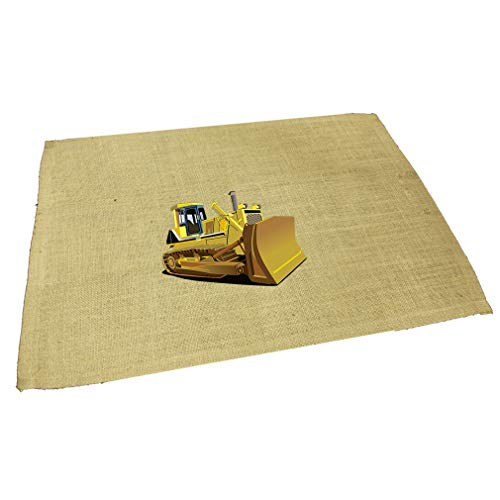Yellow Dozer Car Auto Jute Burlap Placemat Table Mat Natural One Size