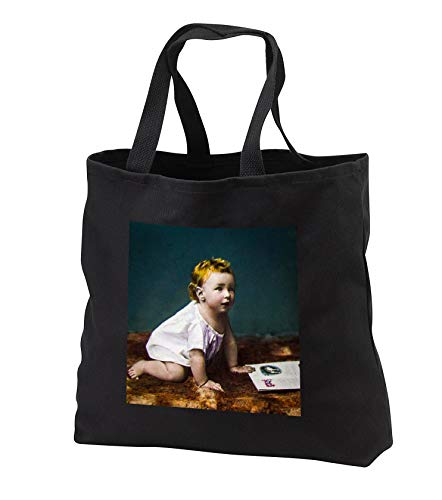 Scenes from the Past - Magic Lantern - Vintage Baby Photo Circa 1890s Hand Tinted Cutie Pie - Tote Bags - Black Tote Bag 14w x 14h x 3d (tb_301271_1)