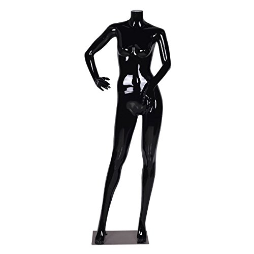 Headless Female Mannequin Full Body Plastic Dress Form Display High Gloss Black